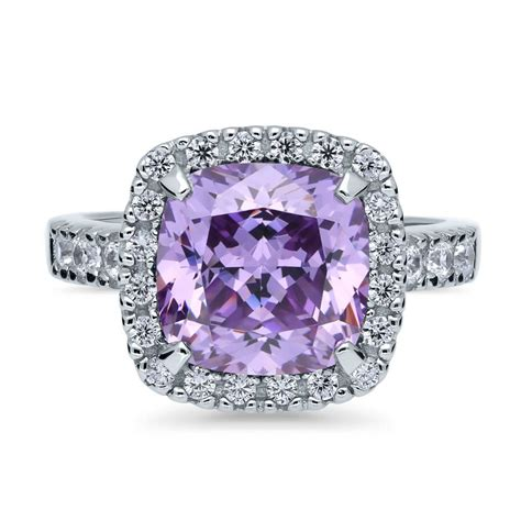 Right Ring Fashion 2 by Berricle Sterling Silver Cushion Purple Cz Halo Fashion