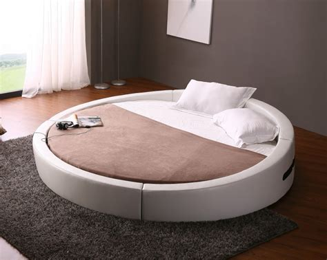 opus modern white leather round platform bed