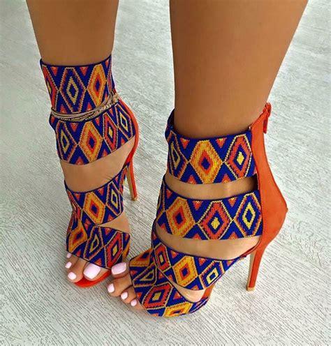 coloured patterned heels shoes pattern orange blue multicolor heels high