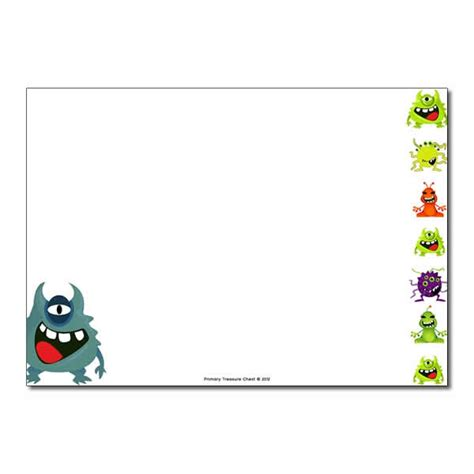 Lined Paper With Alien Border | alien monster landscape page border writing frame no
