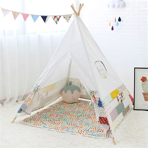 Teepee Tent Pesanan Customer four poles indian play tent patchwork children teepees tipi tent cotton canvas teepee white