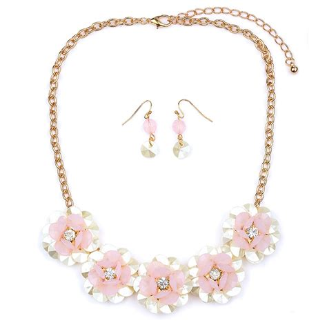 Flower Jewelry Necklace Pink pink flower necklace set connection