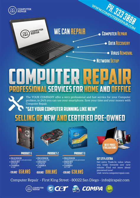 computer repair flyers word excel sles