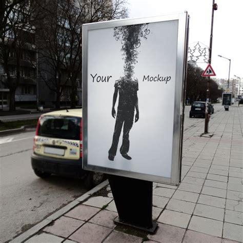 mock up your design here street poster mock up design psd file free download