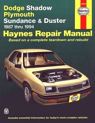 car repair manuals online pdf 1994 plymouth sundance navigation system dodge shadow plymouth sundance duster repair manual 1987 1994
