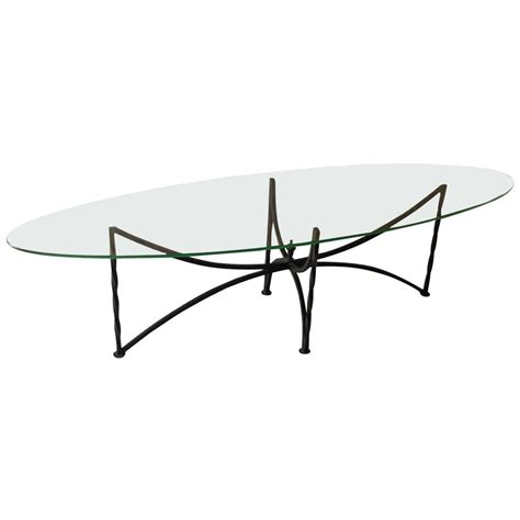 Oval Glass Top Coffee Table With Wrought Iron Base At 1stdibs Wrought Iron Coffee Table With Glass Top