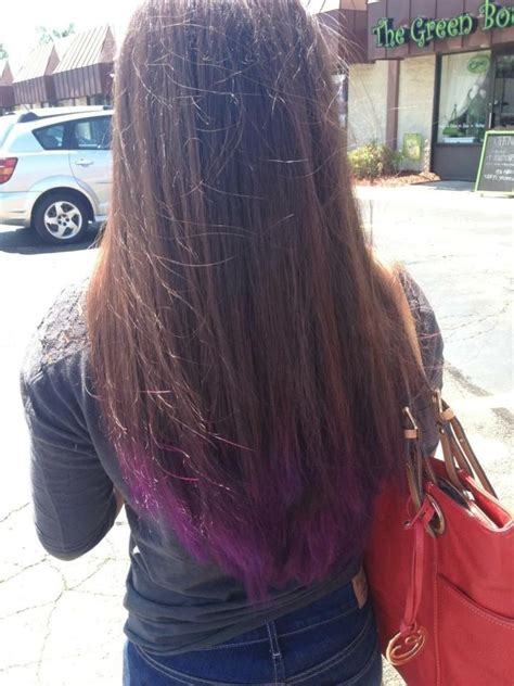 dyed hairstyles for brown hair purple dip dye on brown hair hair pinterest brown
