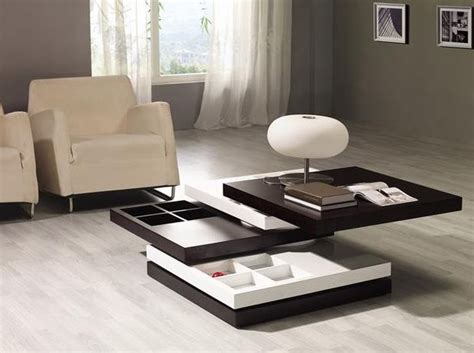 brown and white squared multi function coffee table