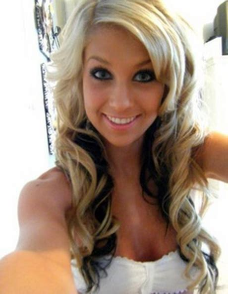 dark hair underneath with blonde highlights on top blonde with black underneath hairstyles