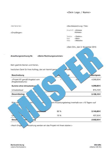 Muster Rechnung Mit Anzahlung Anzahlungsrechnung Kostenloses Muster Zum