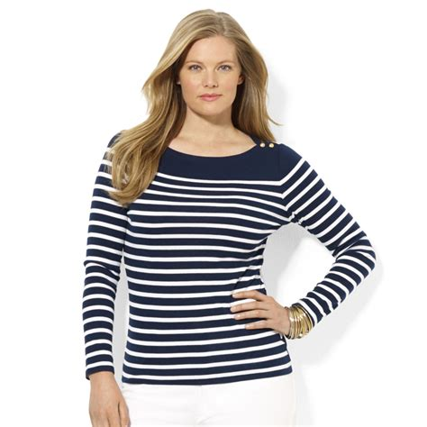 Stripe Top lyst by ralph plus size boatneck striped