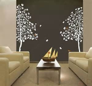 Twin tree 83inch tall vinyl wall art decals graphic for home decor