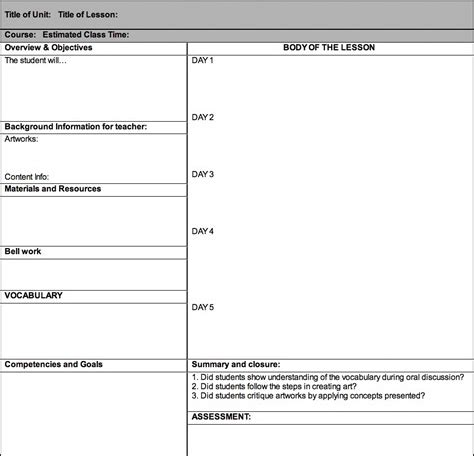 science lesson plan template plan bee