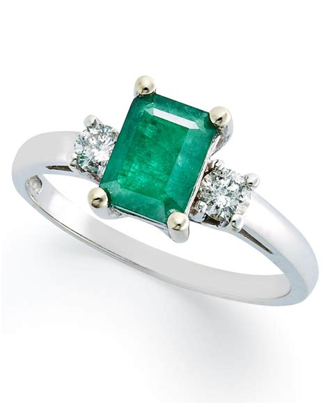 macy s 14k white gold ring emerald 3 4 ct t w and