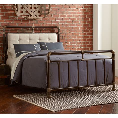 copper bed frame soho upholstered iron bed in brown copper humble abode