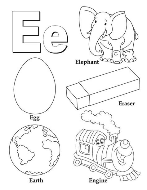 Y Words Coloring Pages by Learning Words Letter E Coloring Page Best Place To Color