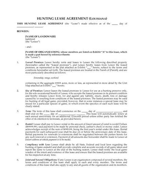 printable hunting lease agreement louisiana hunting lease agreement legal forms and