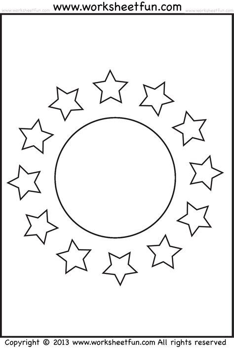 printable moon and star shapes shape coloring worksheet circle and stars free