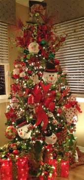 snowman decorated christmas trees home