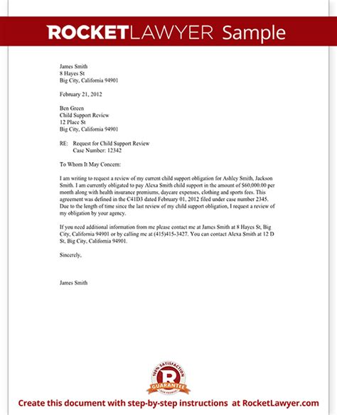 child support letter format child support review letter request review with sle