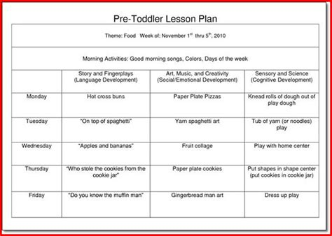 Creative Curriculum Lesson Plan Template For Preschoolers by Creative Curriculum For Preschool Lesson Plan