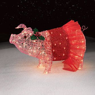 pink flying pig outside christmas decoration 32 quot pig with tutu lights pretty in pink holidays at kmart