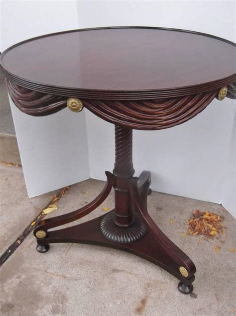 draped table carved mahognay draped round table at 1stdibs