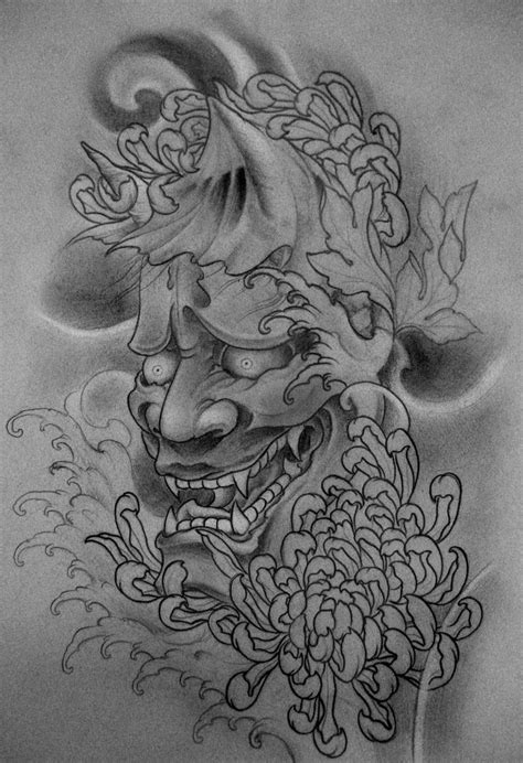oni mask tattoo designs hannya left leg by terokiiskinen deviantart