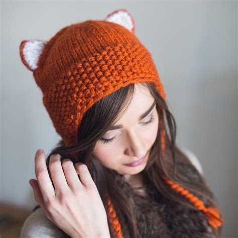 knitted fox hat knit fox beanie knit beanie winter fox hat hat with