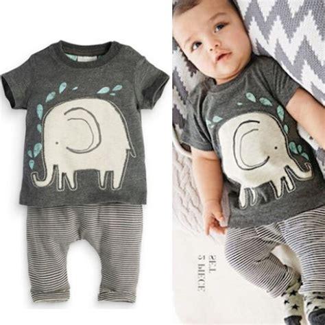 2pcs Collar Shirt Grey 13079 2pcs Toddler Boy Baby Elephant Print Cotton Tops Shirt