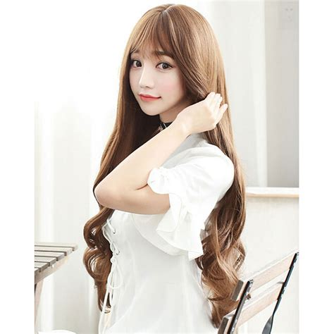 model rambut 3 cm wig rambut palsu model wavy 65 cm brown