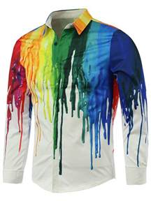colorful shirt sleeves white colorful paint print covered