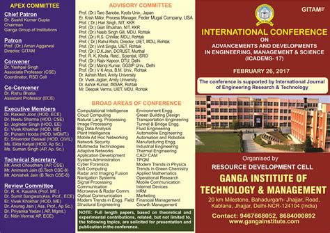 Mba National Technology Conference 2017 by Conference 2017 Ganga Institute Of Technology And Management