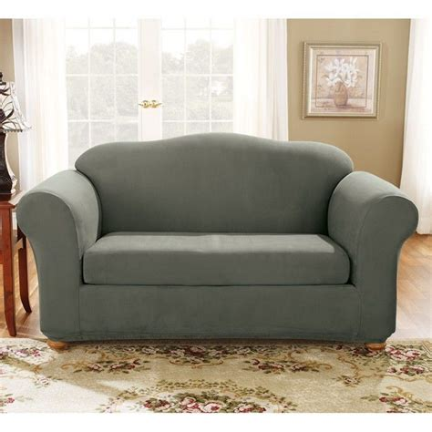 sure fit stretch suede sofa 2 bench seat slipcover