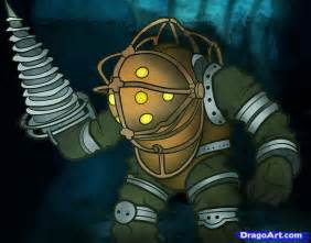 How to draw big daddy big daddy bioshock step by step video game