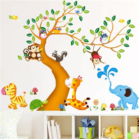 aliexpress buy oversize jungle animals tree monkey owl removable wall decal stickers