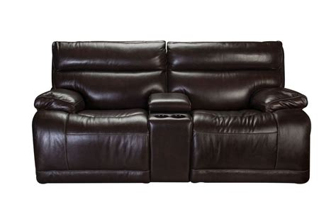 Power Reclining Leather Loveseat With Console by Bowman Leather Power Reclining Loveseat With Console