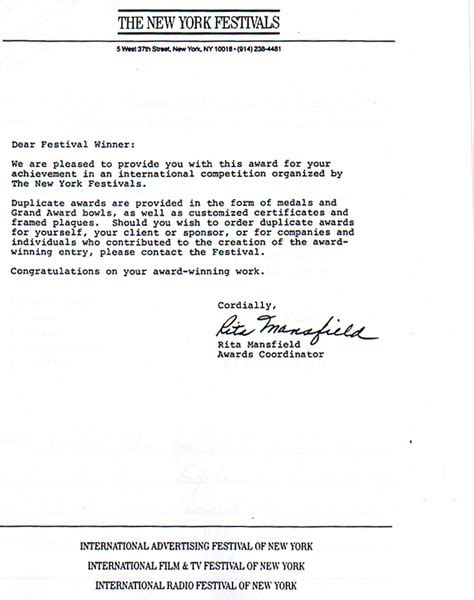 Award Letter In Finalist Award Letter From New York Tv Festival