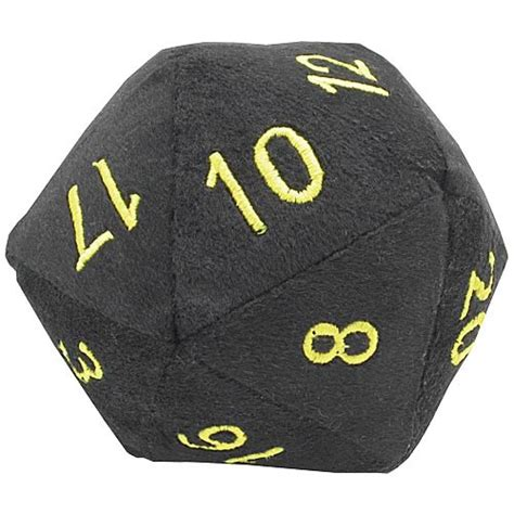 Dice 20 Sided Black 20 sided black with gold fuzzy dice 5 inch plush vault gaming plush at entertainment