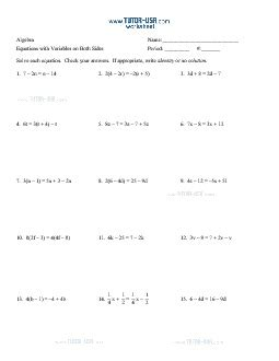 printable worksheets equations with variables on both sides worksheet equations solving equations with variable on