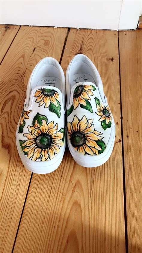 Painted Canvas Slip Ons sunflower slip on vans painted shoes