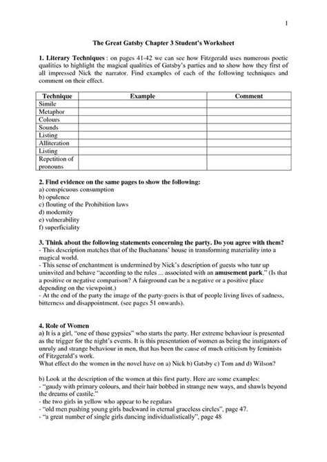 The Great Gatsby Character Worksheet Answers by The Great Gatsby Worksheets
