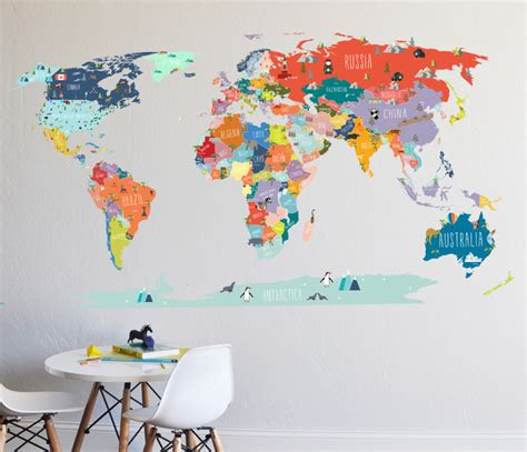 world map interactive map wall decal contemporary