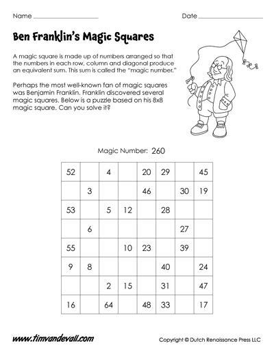 Magic Square Worksheet by Benjamin Franklin Magic Square Worksheet Math Printables