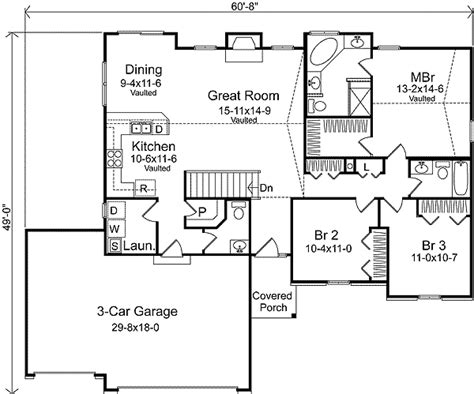 3 car garage floor plans ranch living with three car garage 22006sl