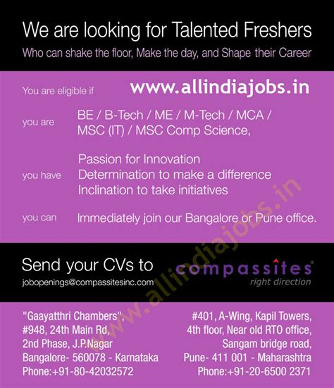 Mba Or Mtech After Btech Cse by Compassites Software Hiring Freshers Bangalore Pune