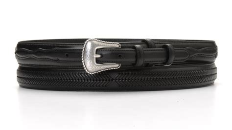 na 24768 01 black leather ranger belt wth leather