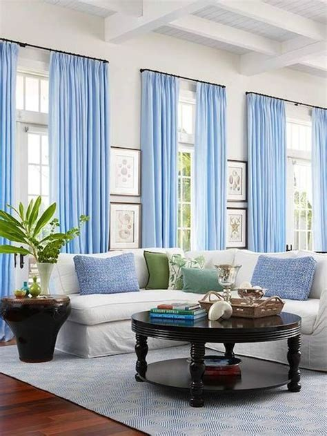 white walls baby blue curtains decor living room