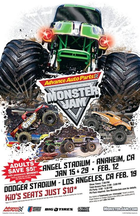 monster truck jam los angeles advanced auto parts monster jam daytripping mom