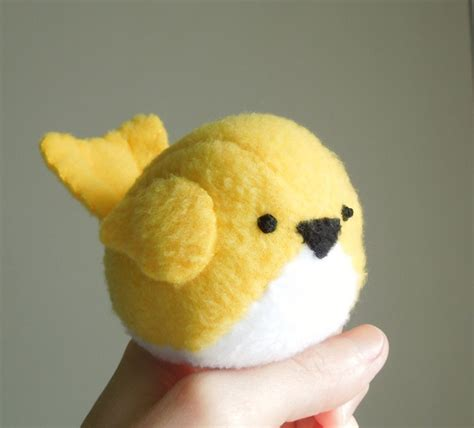 kids bright yellow bird stuffed animal handmade childrens